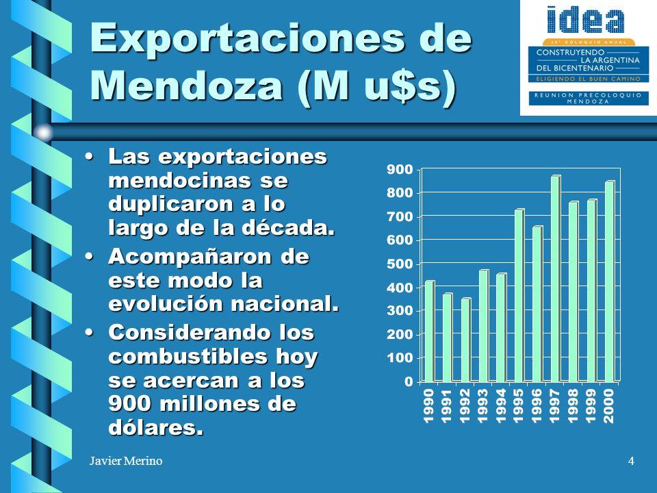 Javier Merino4 Exportaciones de Mendoza (M u$s) Las exportaciones mendocinas se duplicaron a lo largo de la década.Las exportaciones mendocinas se dup