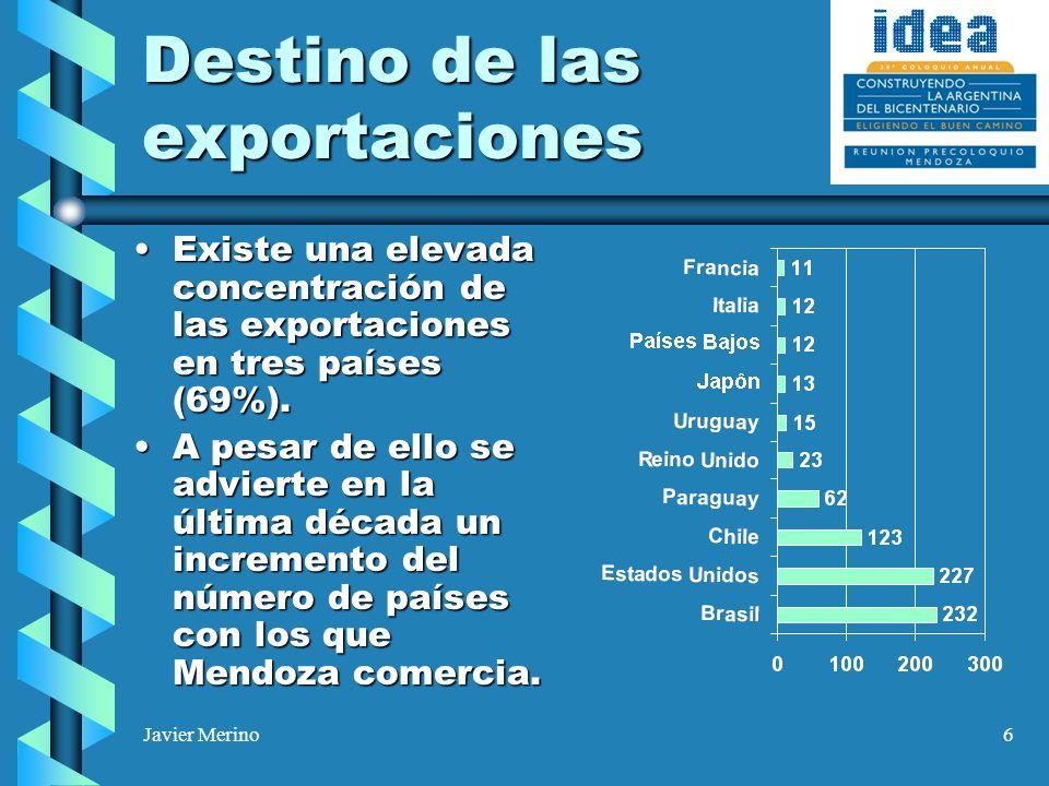 Javier Merino6 Destino de las exportaciones Existe una elevada concentración de las exportaciones en tres países (69%).Existe una elevada concentració