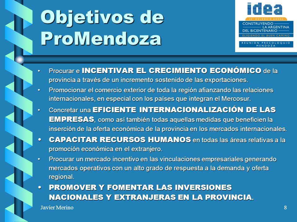 Javier Merino8 Objetivos de ProMendoza Procurar e INCENTIVAR EL CRECIMIENTO ECONÓMICO de la provincia a través de un incremento sostenido de las exportaciones.Procurar e INCENTIVAR EL CRECIMIENTO ECONÓMICO de la provincia a través de un incremento sostenido de las exportaciones.