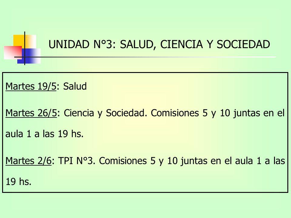 UNIDAD N°3: SALUD, CIENCIA Y SOCIEDAD Martes 19/5: Salud Martes 26/5: Ciencia y Sociedad.