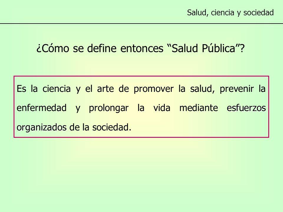 ¿Cómo se define entonces Salud Pública.