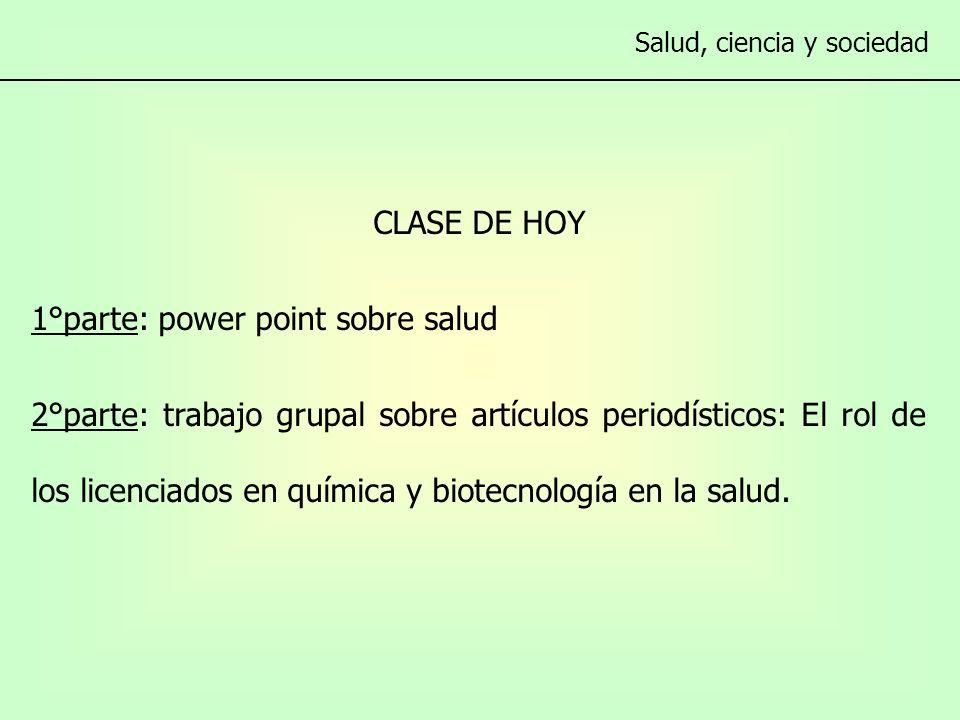 CLASE DE HOY 1°parte: power point sobre salud 2°parte: trabajo grupal sobre artículos periodísticos: El rol de los licenciados en química y biotecnología en la salud.