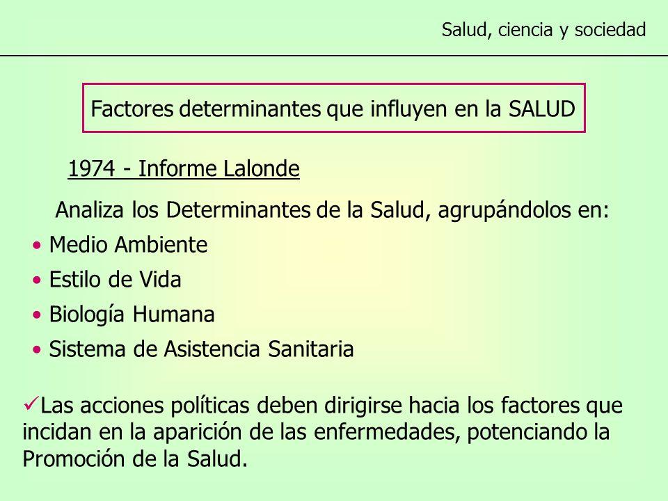 1974 - Informe Lalonde Factores determinantes que influyen en la SALUD Salud, ciencia y sociedad Las acciones políticas deben dirigirse hacia los factores que incidan en la aparición de las enfermedades, potenciando la Promoción de la Salud.