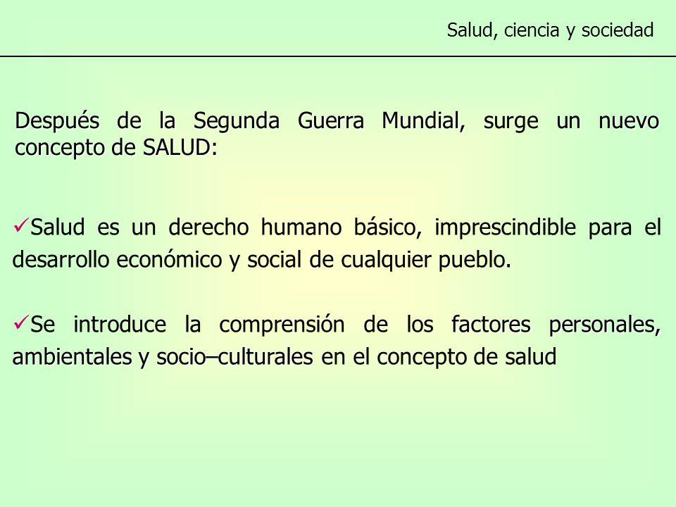 Después de la Segunda Guerra Mundial, uevo concepto de SALUD: Después de la Segunda Guerra Mundial, surge un nuevo concepto de SALUD: Salud es un derecho humano básico, imprescindible para el desarrollo económico y social de cualquier pueblo.