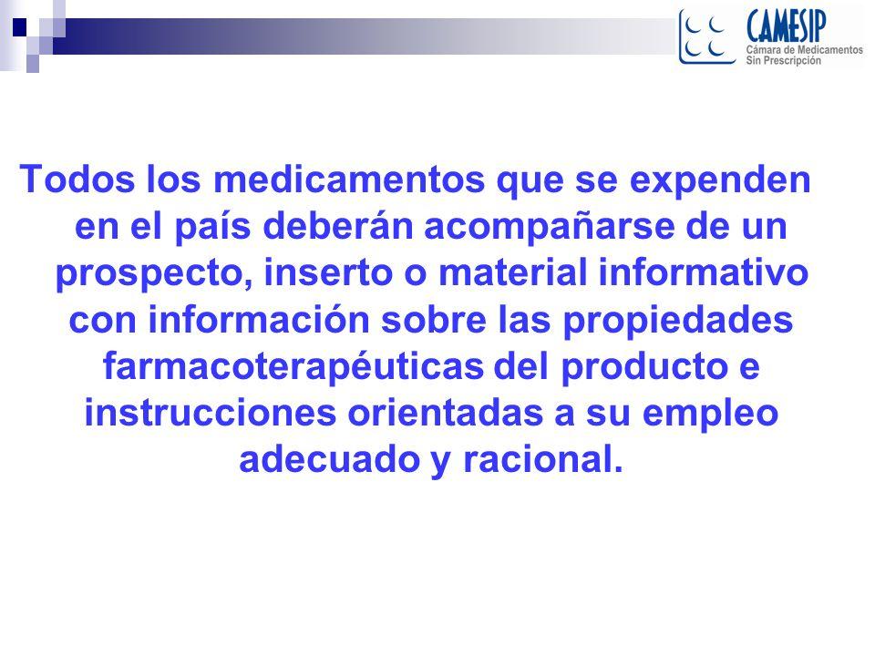 Todos los medicamentos que se expenden en el país deberán acompañarse de un prospecto, inserto o material informativo con información sobre las propie