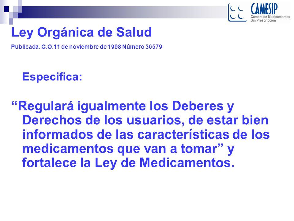 Ley de Medicamentos Gaceta Oficial Nº 37.006 de fecha 3 de agosto de 2000 Capítulo III De la Promoción de los Medicamentos Artículos 44.