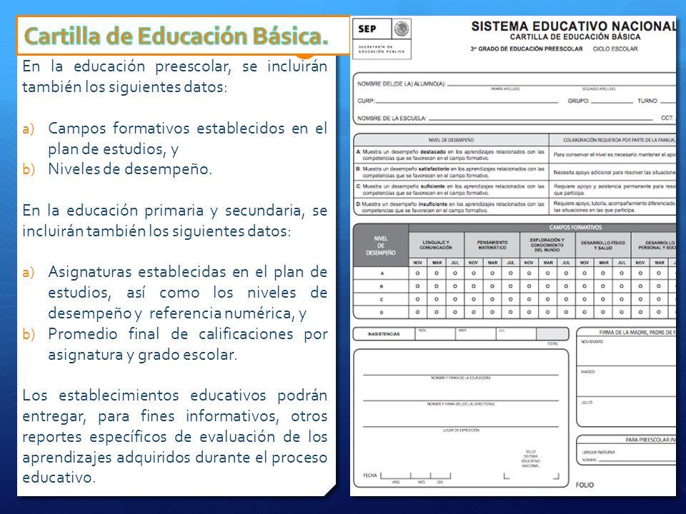 En la educación preescolar, se incluirán también los siguientes datos: a) Campos formativos establecidos en el plan de estudios, y b) Niveles de desem