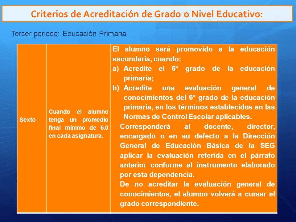 Criterios de Acreditación de Grado o Nivel Educativo: Tercer periodo: Educación Primaria Sexto Cuando el alumno tenga un promedio final mínimo de 6.0