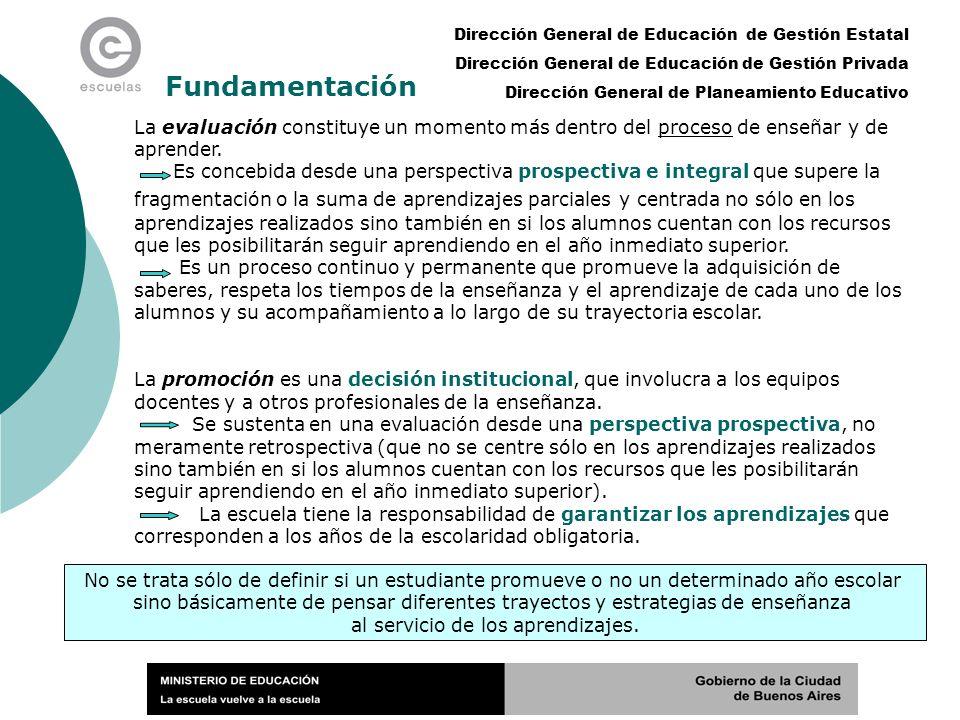 Dirección General de Educación de Gestión Estatal Dirección General de Educación de Gestión Privada Dirección General de Planeamiento Educativo Fundamentación La evaluación constituye un momento más dentro del proceso de enseñar y de aprender.