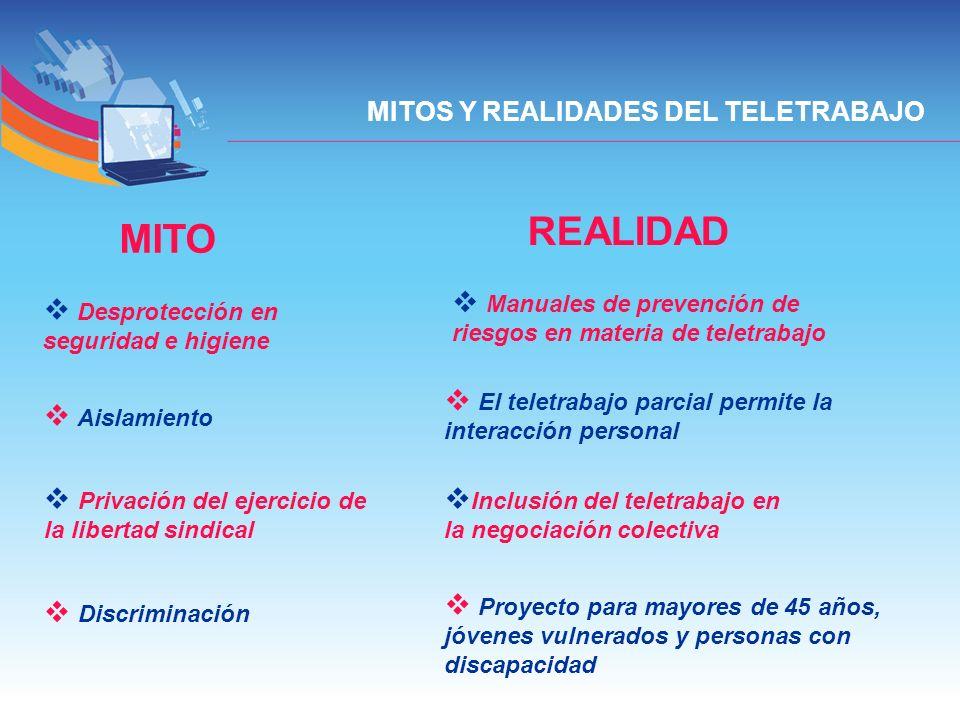 MITO REALIDAD Desprotección en seguridad e higiene Manuales de prevención de riesgos en materia de teletrabajo Aislamiento El teletrabajo parcial perm