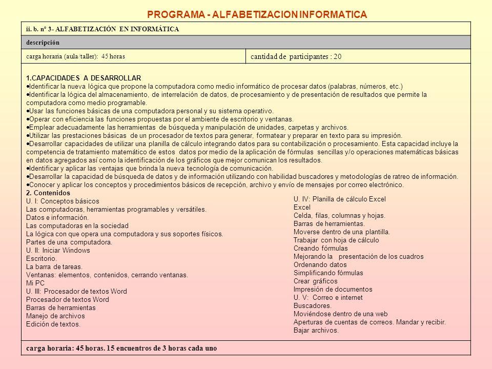 PROGRAMA - ALFABETIZACION INFORMATICA ii.b.