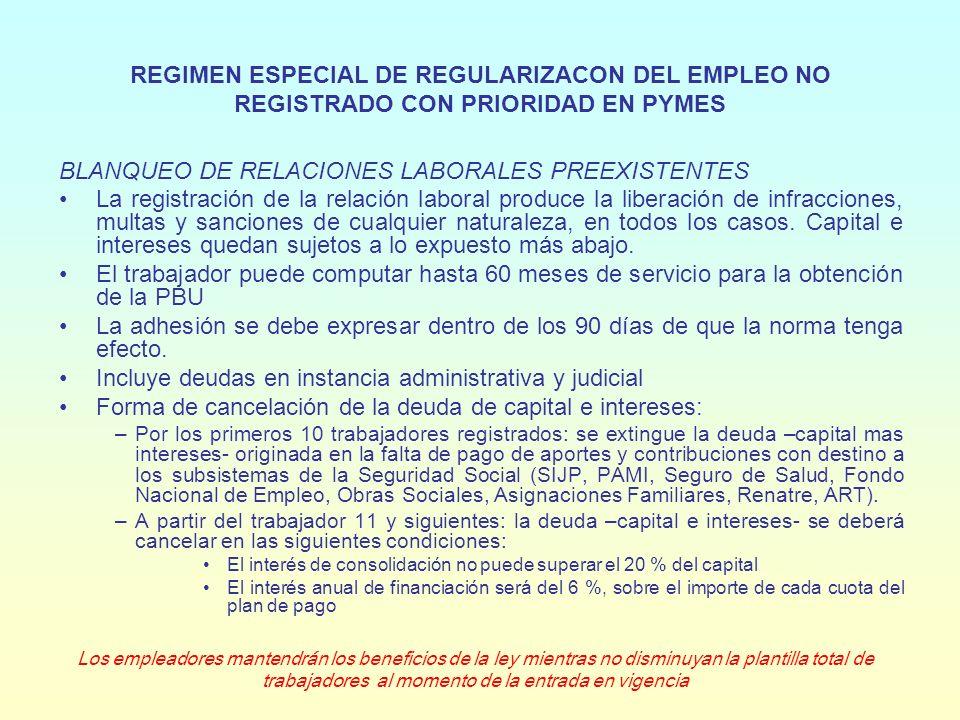 PROMOCION Y PROTECCION DEL EMPLEO REGISTRADO CON PRIORIDAD EN PYMES REDUCCION DE CONTRIBUCIONES PATRONALES POR NUEVOS EMPLEOS Reducción de contribuciones patronales por 24 meses por: –Nuevos empleos –Regularización de empleos preexistentes Incluye contribuciones con destino a: SIJP, PAMI, Fondo Nacional de Empleo, Asignaciones Familiares, Renatre Se excluye contribuciones con destino a: Sistema Nacional de Salud y ART El beneficio rige por 12 meses, pudiendo ser prorrogado por el PEN Monto de la reducción: –Primeros 12 meses paga el 50 % de la contribución incluida.