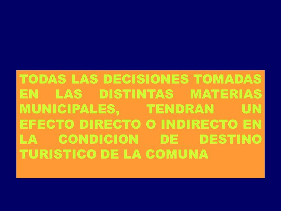 TODAS LAS DECISIONES TOMADAS EN LAS DISTINTAS MATERIAS MUNICIPALES, TENDRAN UN EFECTO DIRECTO O INDIRECTO EN LA CONDICION DE DESTINO TURISTICO DE LA C