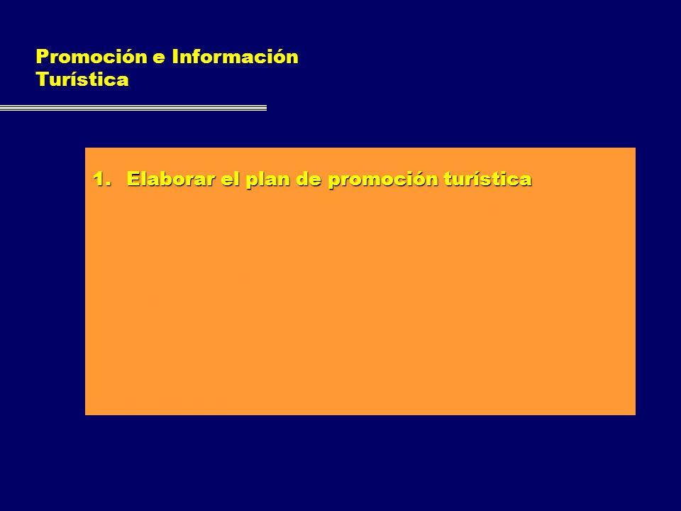 Promoción e Información Turística 1.Elaborar el plan de promoción turística 2.Obtener y recopilar información acerca de la demanda turística del munic