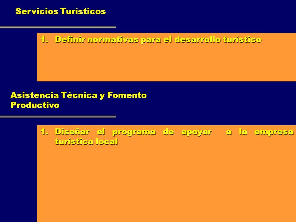 Servicios Turísticos 1.Definir normativas para el desarrollo turístico 2.Aplicar normas de control periódico a la calidad de servicios. 3.Desarrollar