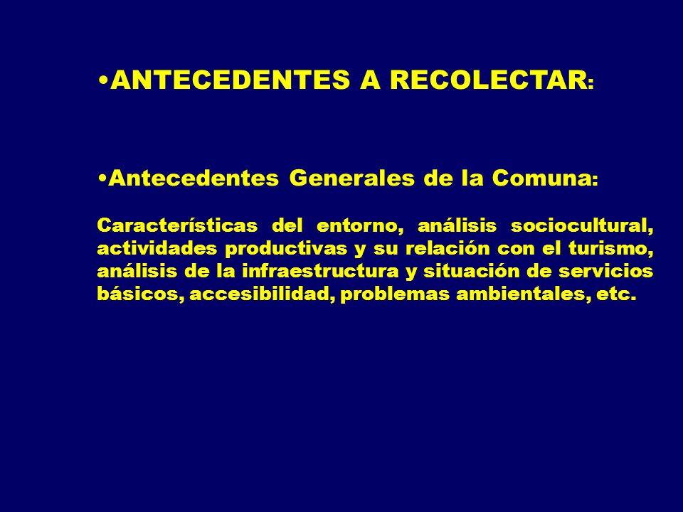 ANTECEDENTES A RECOLECTAR : Antecedentes Generales de la Comuna : Características del entorno, análisis sociocultural, actividades productivas y su re