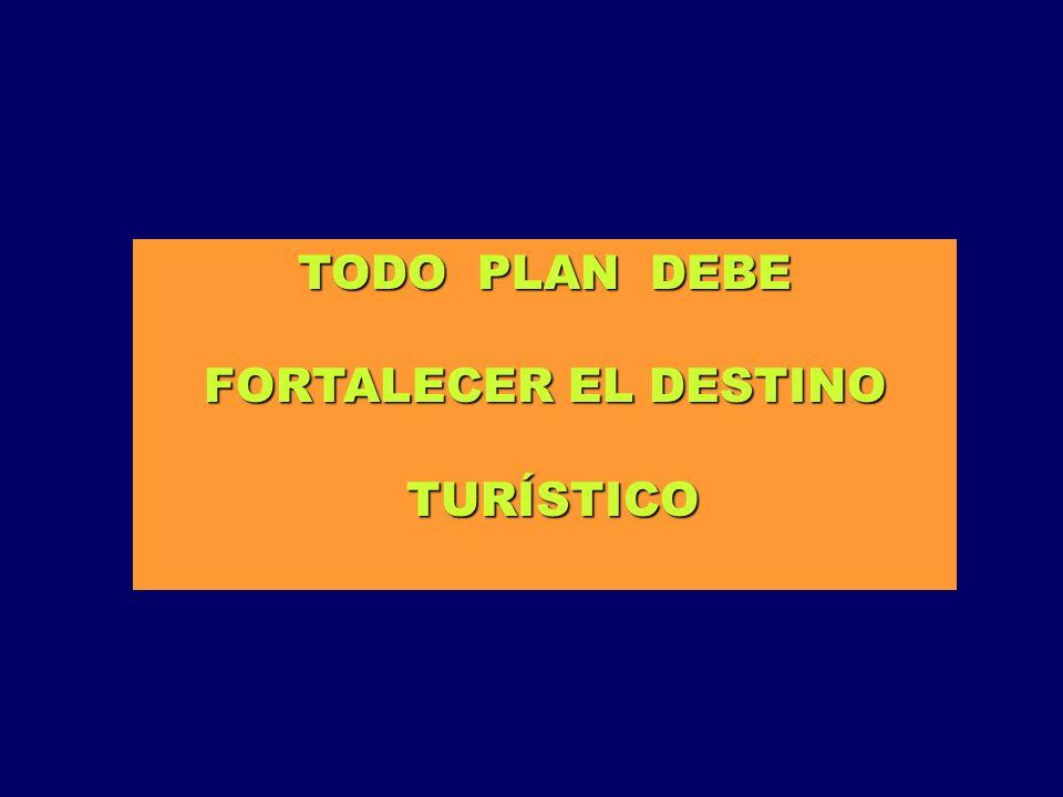 TODO PLAN DEBE FORTALECER EL DESTINO TURÍSTICO TURÍSTICO