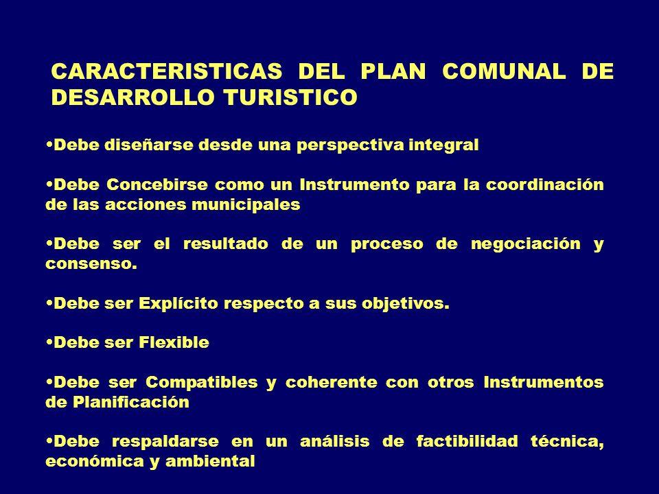 CARACTERISTICAS DEL PLAN COMUNAL DE DESARROLLO TURISTICO Debe diseñarse desde una perspectiva integral Debe Concebirse como un Instrumento para la coo