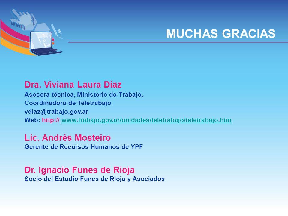 Dra. Viviana Laura Díaz Asesora técnica, Ministerio de Trabajo, Coordinadora de Teletrabajo vdiaz@trabajo.gov.ar Web: http:// www.trabajo.gov.ar/unida