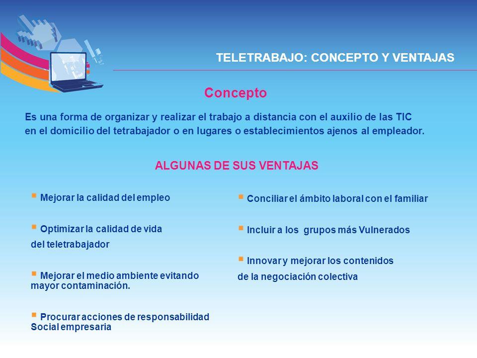 TELETRABAJO: CONCEPTO Y VENTAJAS Concepto Es una forma de organizar y realizar el trabajo a distancia con el auxilio de las TIC en el domicilio del te