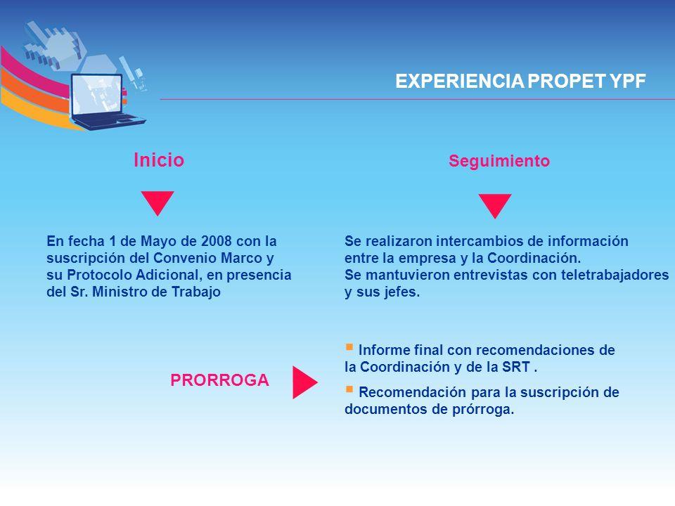 EXPERIENCIA PROPET YPF En fecha 1 de Mayo de 2008 con la suscripción del Convenio Marco y su Protocolo Adicional, en presencia del Sr. Ministro de Tra
