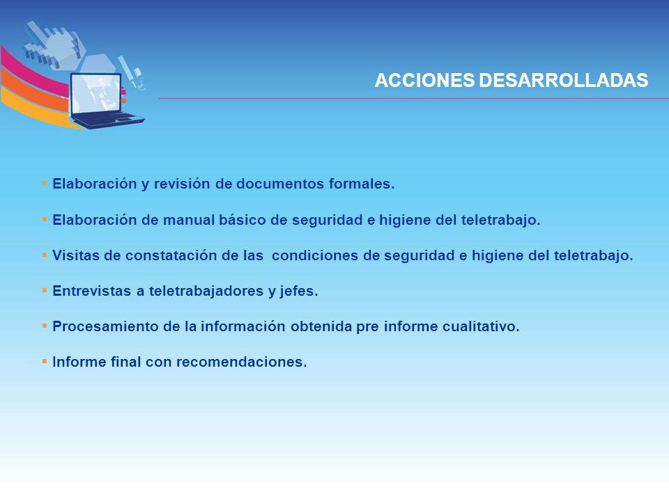 ACCIONES DESARROLLADAS Elaboración y revisión de documentos formales. Elaboración de manual básico de seguridad e higiene del teletrabajo. Visitas de