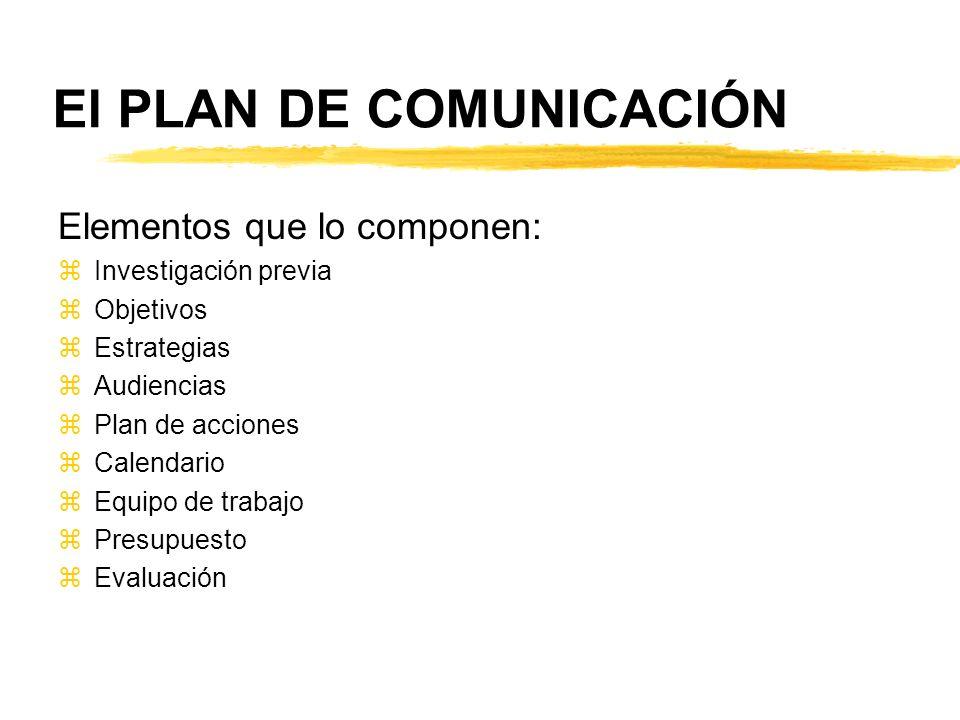 El PLAN DE COMUNICACIÓN Elementos que lo componen: zInvestigación previa zObjetivos zEstrategias zAudiencias zPlan de acciones zCalendario zEquipo de
