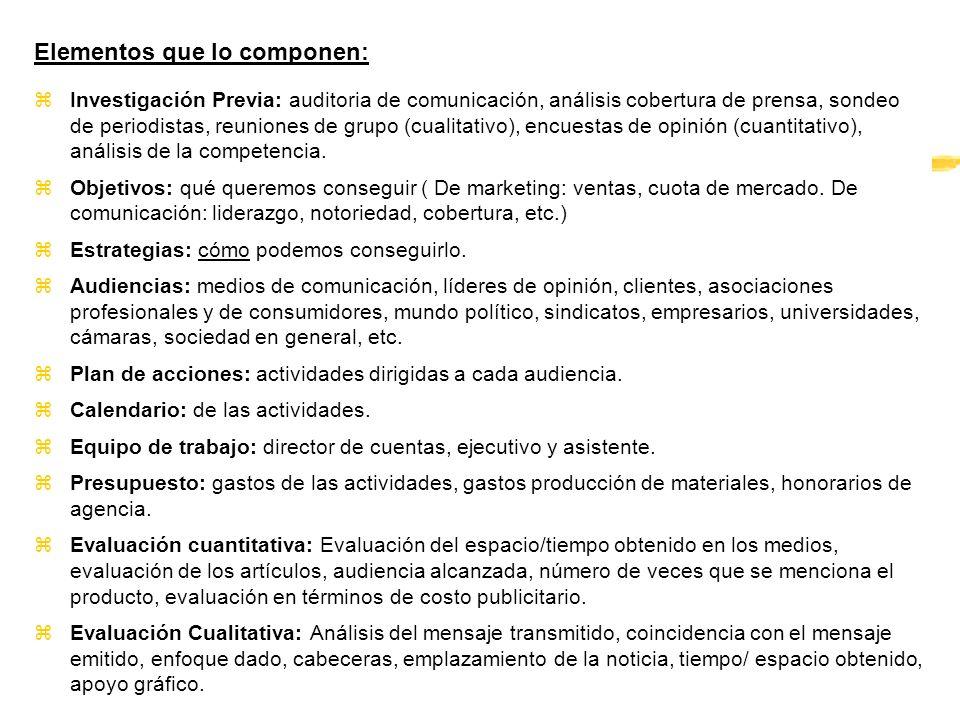 Elementos que lo componen: zInvestigación Previa: auditoria de comunicación, análisis cobertura de prensa, sondeo de periodistas, reuniones de grupo (