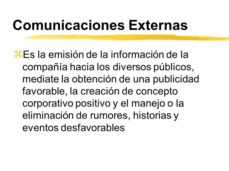 Comunicaciones Externas zEs la emisión de la información de la compañía hacia los diversos públicos, mediate la obtención de una publicidad favorable,