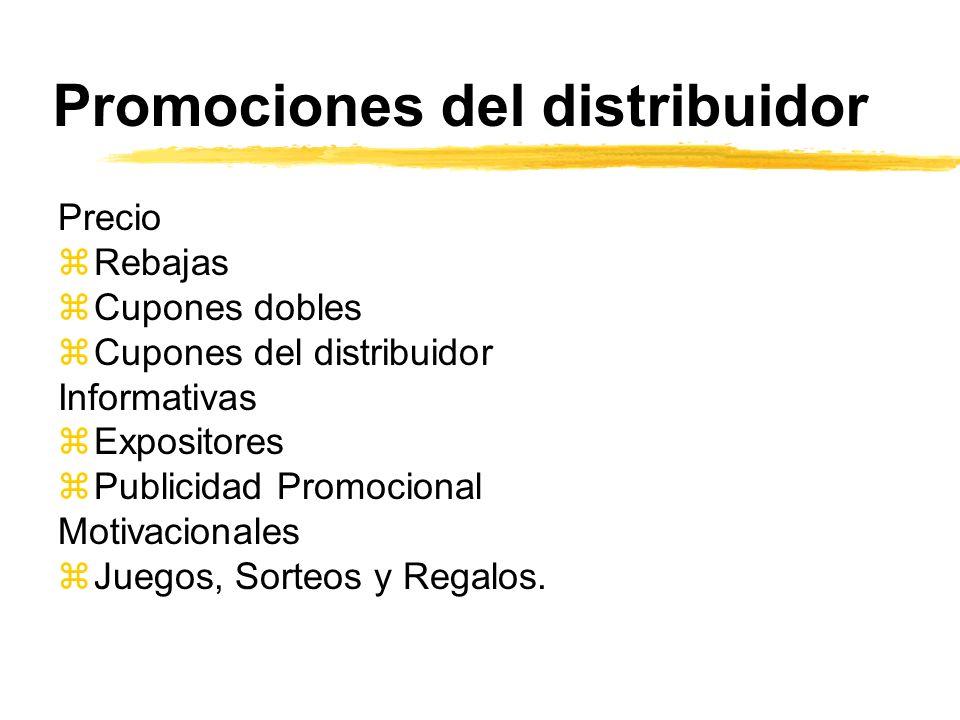 Promociones del distribuidor Precio zRebajas zCupones dobles zCupones del distribuidor Informativas zExpositores zPublicidad Promocional Motivacionale