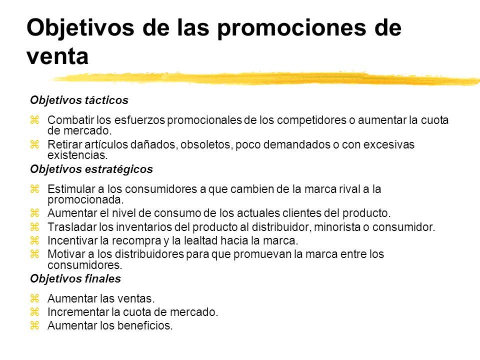Objetivos de las promociones de venta Objetivos tácticos zCombatir los esfuerzos promocionales de los competidores o aumentar la cuota de mercado. zRe