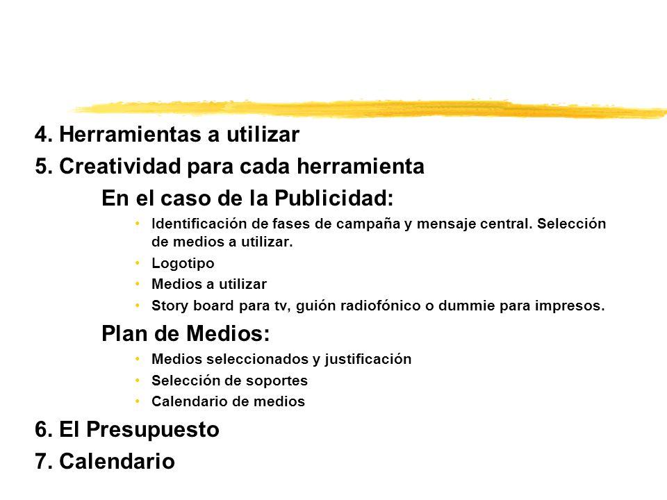 4. Herramientas a utilizar 5. Creatividad para cada herramienta En el caso de la Publicidad: Identificación de fases de campaña y mensaje central. Sel
