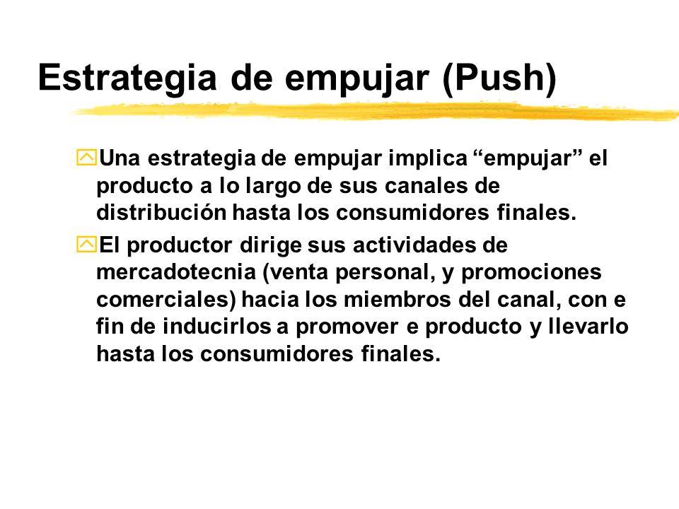 Estrategia de empujar (Push) yUna estrategia de empujar implica empujar el producto a lo largo de sus canales de distribución hasta los consumidores f
