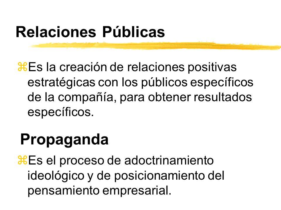 Relaciones Públicas zEs la creación de relaciones positivas estratégicas con los públicos específicos de la compañía, para obtener resultados específi