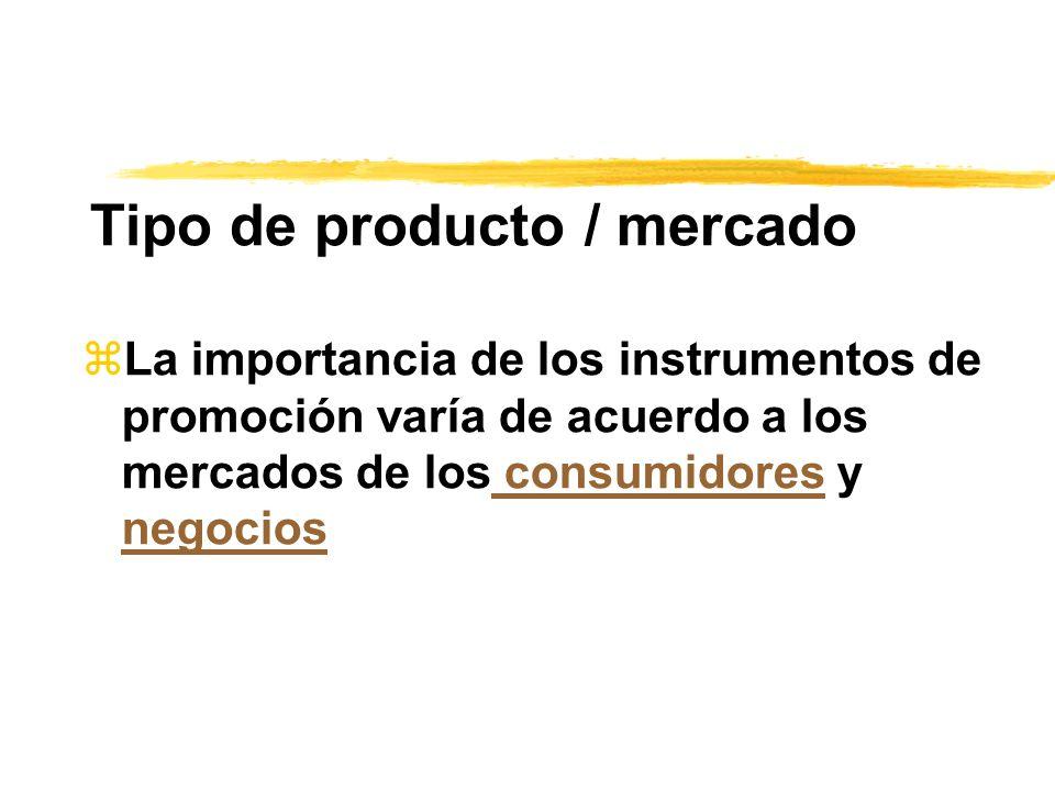 Tipo de producto / mercado zLa importancia de los instrumentos de promoción varía de acuerdo a los mercados de los consumidores y negocios consumidore