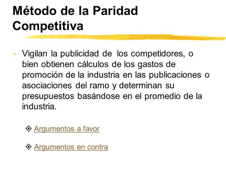 Método de la Paridad Competitiva -Vigilan la publicidad de los competidores, o bien obtienen cálculos de los gastos de promoción de la industria en la