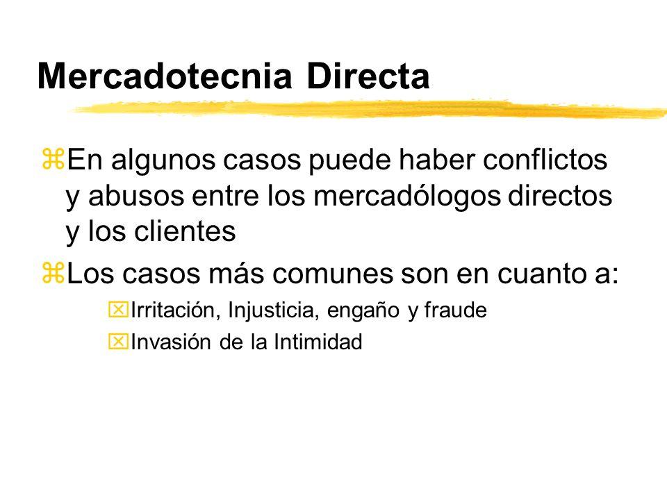 Mercadotecnia Directa zEn algunos casos puede haber conflictos y abusos entre los mercadólogos directos y los clientes zLos casos más comunes son en c