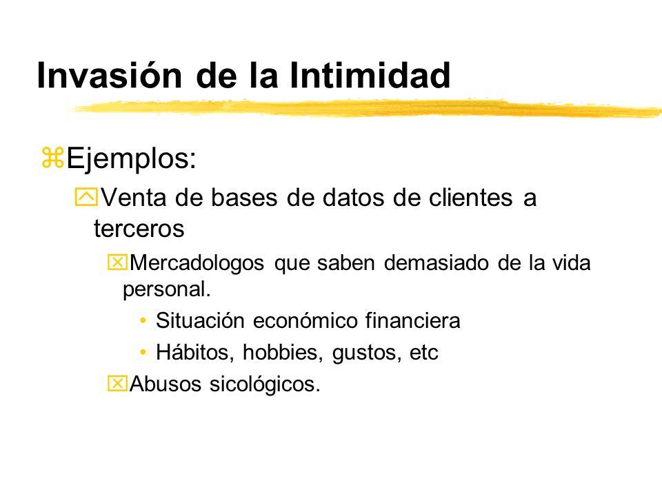 Invasión de la Intimidad zEjemplos: yVenta de bases de datos de clientes a terceros xMercadologos que saben demasiado de la vida personal. Situación e