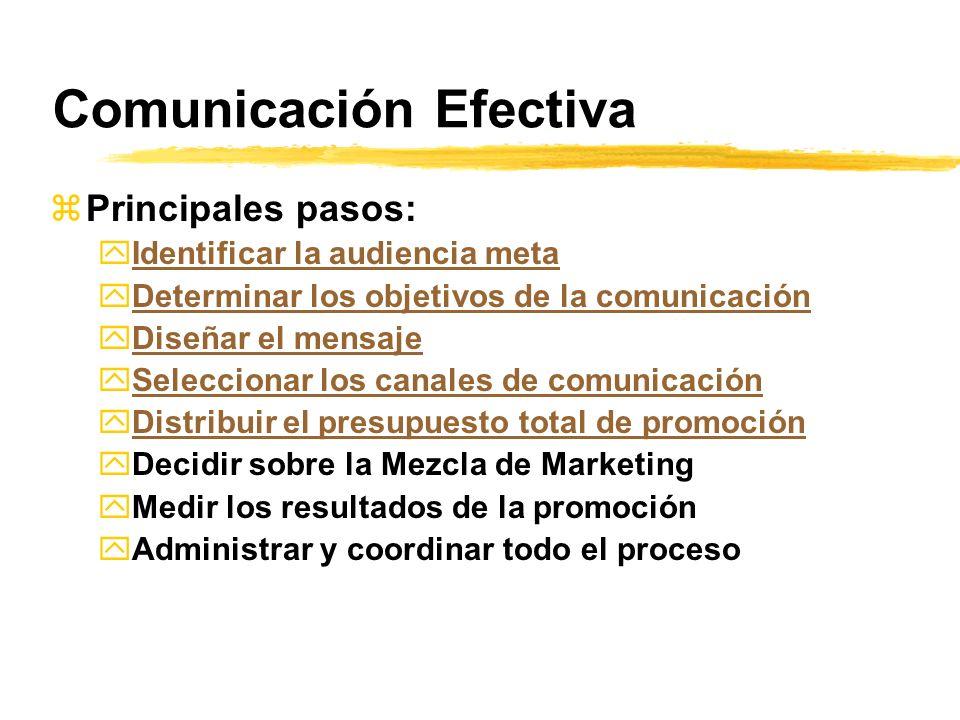 Comunicación Efectiva zPrincipales pasos: yIdentificar la audiencia metaIdentificar la audiencia meta yDeterminar los objetivos de la comunicaciónDete