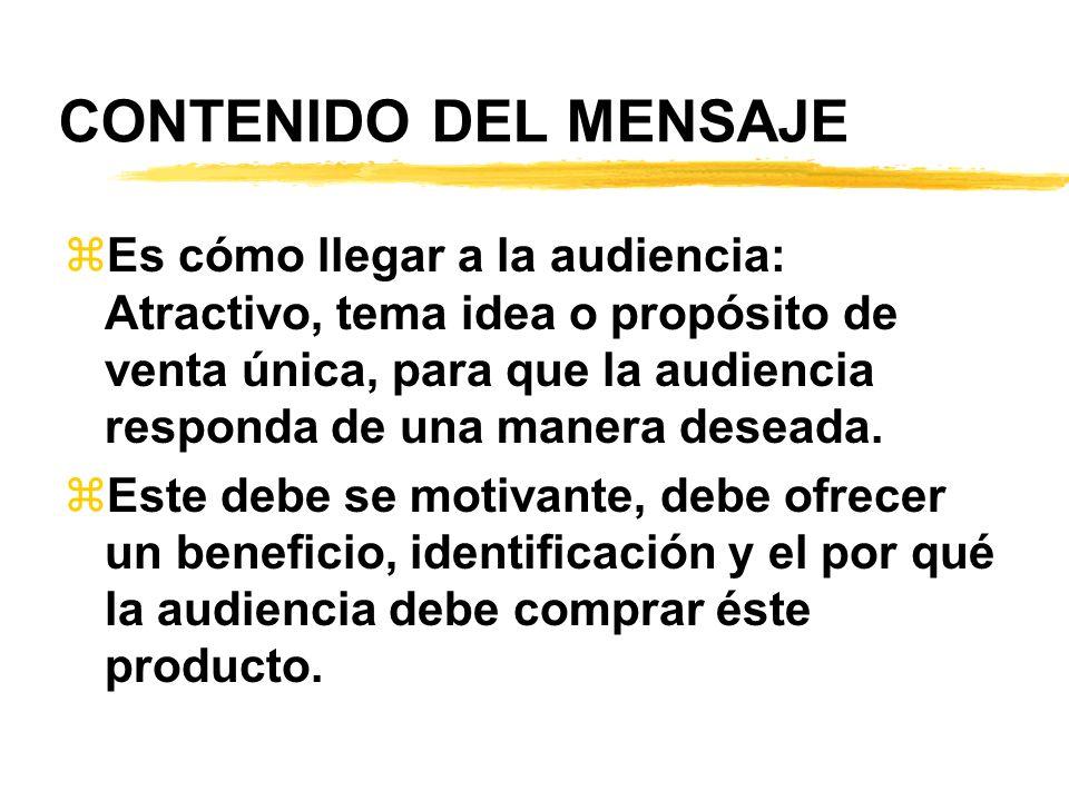 CONTENIDO DEL MENSAJE zEs cómo llegar a la audiencia: Atractivo, tema idea o propósito de venta única, para que la audiencia responda de una manera de