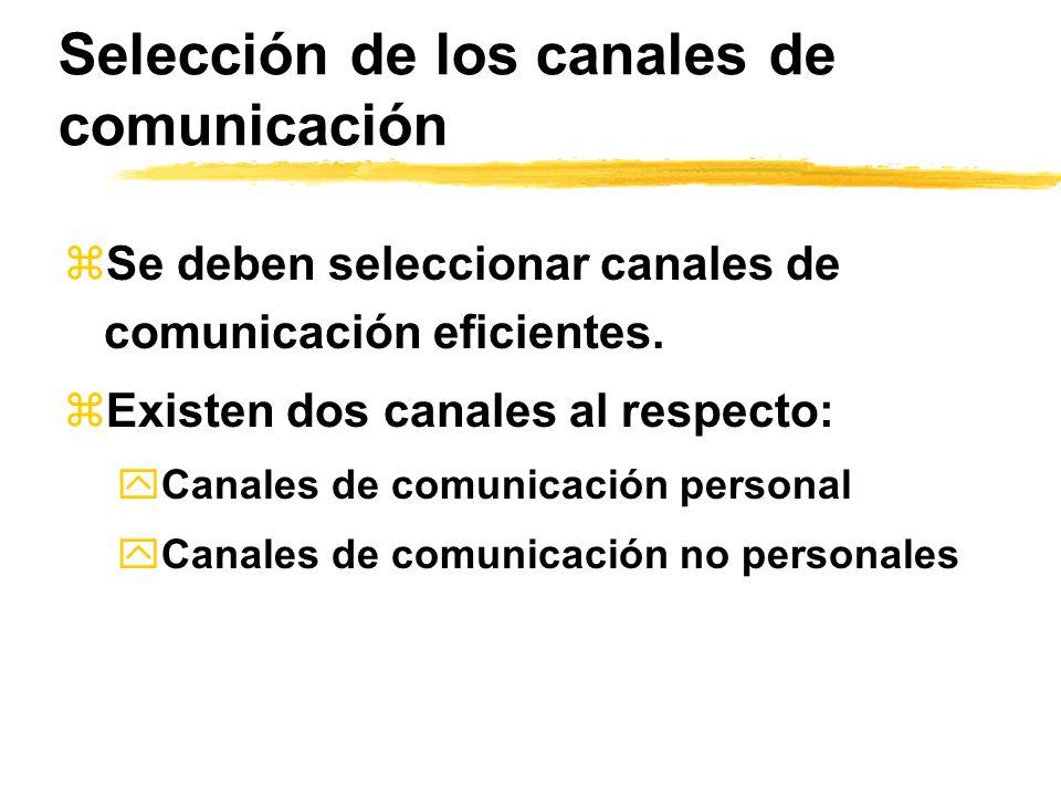 Selección de los canales de comunicación zSe deben seleccionar canales de comunicación eficientes. zExisten dos canales al respecto: yCanales de comun