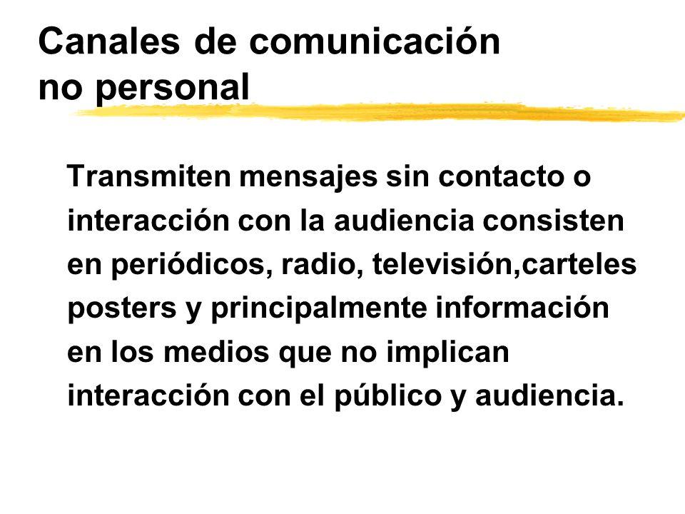 Canales de comunicación no personal Transmiten mensajes sin contacto o interacción con la audiencia consisten en periódicos, radio, televisión,cartele