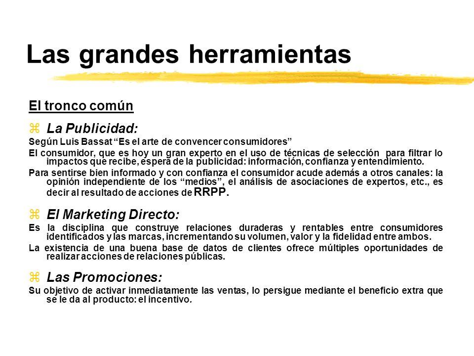 Las grandes herramientas El tronco común zLa Publicidad: Según Luis Bassat Es el arte de convencer consumidores El consumidor, que es hoy un gran expe