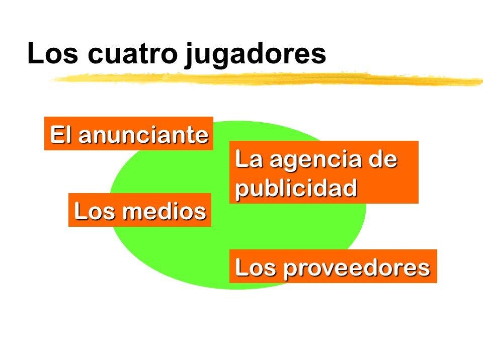 Los cuatro jugadores La agencia de publicidad El anunciante Los medios Los proveedores