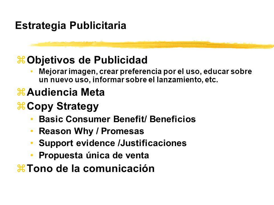 Estrategia Publicitaria zObjetivos de Publicidad Mejorar imagen, crear preferencia por el uso, educar sobre un nuevo uso, informar sobre el lanzamient