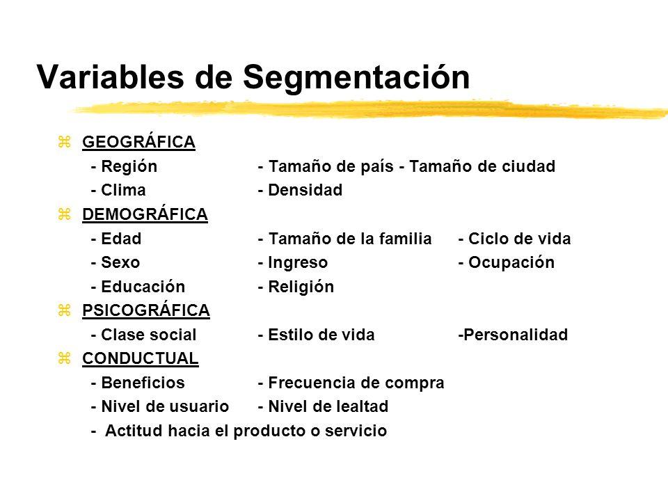 Variables de Segmentación zGEOGRÁFICA - Región- Tamaño de país - Tamaño de ciudad - Clima- Densidad zDEMOGRÁFICA - Edad- Tamaño de la familia- Ciclo d