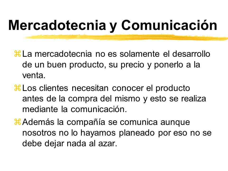 Mercadotecnia y Comunicación zLa mercadotecnia no es solamente el desarrollo de un buen producto, su precio y ponerlo a la venta. zLos clientes necesi
