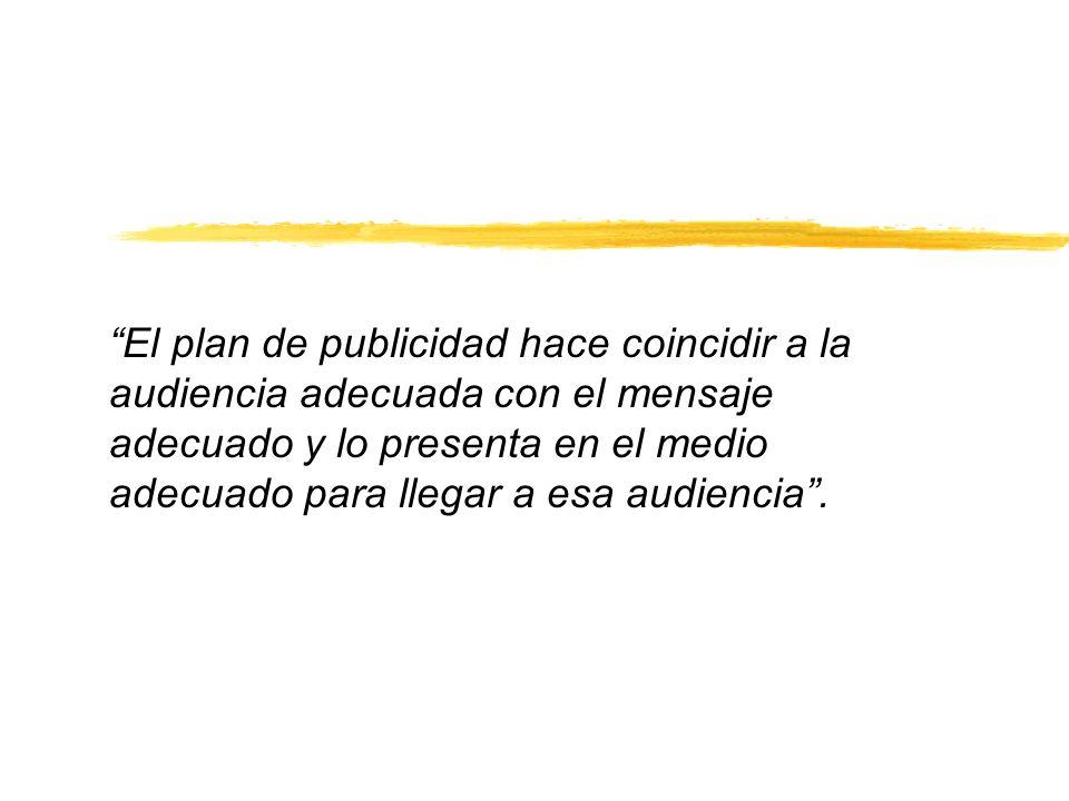 El plan de publicidad hace coincidir a la audiencia adecuada con el mensaje adecuado y lo presenta en el medio adecuado para llegar a esa audiencia.