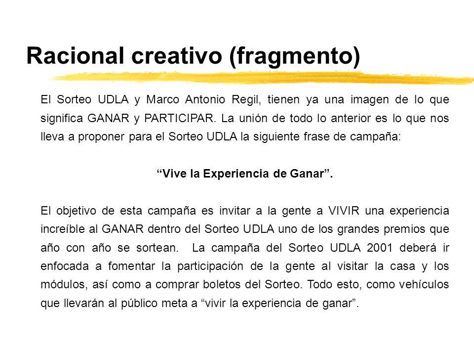 Racional creativo (fragmento) El Sorteo UDLA y Marco Antonio Regil, tienen ya una imagen de lo que significa GANAR y PARTICIPAR. La unión de todo lo a