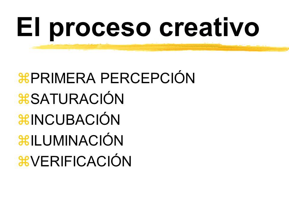 El proceso creativo zPRIMERA PERCEPCIÓN zSATURACIÓN zINCUBACIÓN zILUMINACIÓN zVERIFICACIÓN